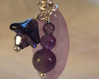 Amethyst & Flower  Wire Wrapped Pendant