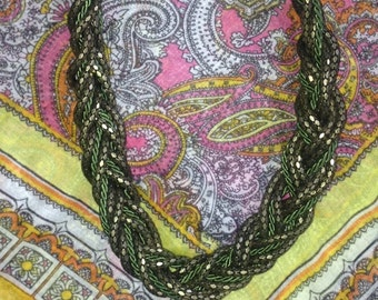 Green Braided Chain Necklace