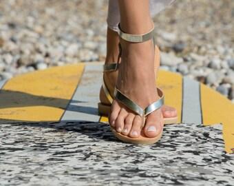 Greek Leather sandals,Strap sandals,Leather sandals,Handmade sandals,Summer sandals,Flat sandals,Triskelion,KYTHNOS