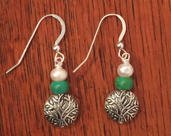 Hand Crafted Genuine Turquoise and Freshwater Pearl Earrings
