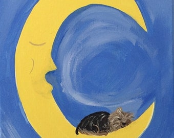 11X14 Sleeping Yorkie on the Moon Acrylic Painting