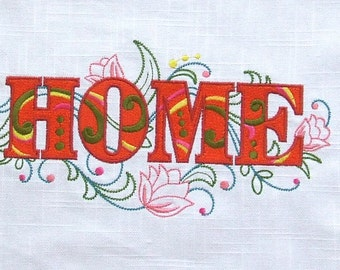 EMBROIDERED QUILT BLOCK or panel, 100% cotton (Home)