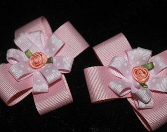 Pink Rose Barrettes