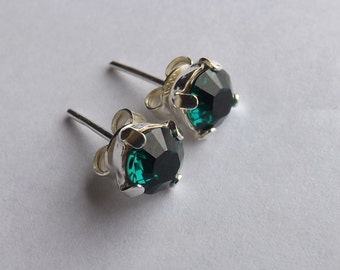 "Silver 925 6 mm Swarovski earrings ""emerald"" and"