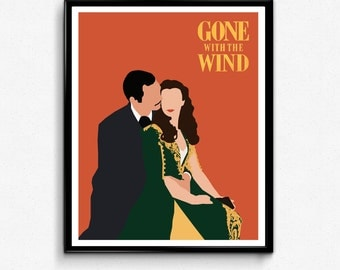 Gone With the Wind Poster, Scarlett O'Hara and Rhett Butler Minimalist Print