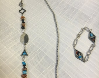 Silver, turquoise, and rust triangle necklace/lanyard