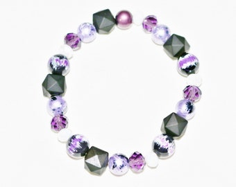Purple, White and Black Bracelet