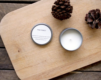 Pine Forest Candle  || minimal natural essential oil soy candle, fall and winter gift, simple home decor