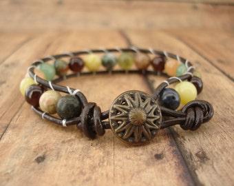Agate Leather Wrap Bracelet