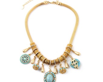 Mint Blue(Red) Statement Necklace, Gemstones Statement Necklace,Gold Statement Necklace ,Fashionable Jewelry for Women Gift