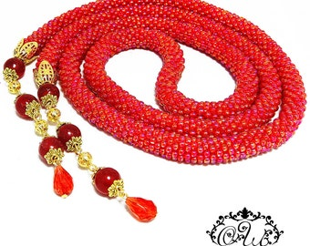 """Lariat from Japanese beads """"Flame"""""""