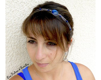 Headband cabochon blue chain STAINLESS STEEL