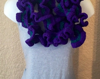 Amethyst and Teal Ruffled Skinny Infinity Scarf