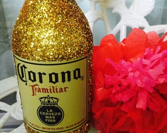 Fiesta Wedding Mexican Large Beer Glitter Bottles