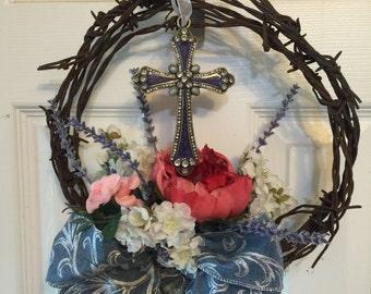 Blue Barbwire Cross Wreath