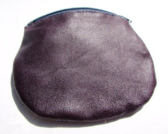 Stunning deep purple Italian leather purse - 100% cotton fabric lining with leaf print - air force blue coloured zip - contrasting stitching