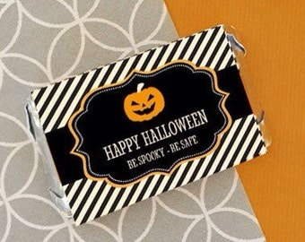 Personalized Halloween mini candy bar wrappers-set of 24-Halloween mini candy bar wrappers, Halloween candy bar wrappers, Halloween candy