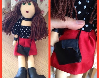 RedSkirt, LeatherAccessories, Jodie Doll, StivalettiInPelle, Leather, CappelloInPelle, DifferenceMakesUs, LeatherBag, EtsySuccess