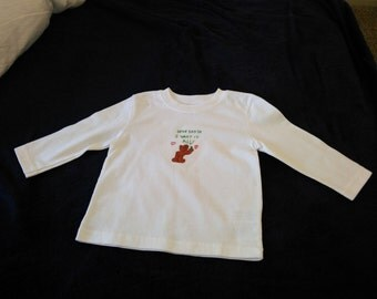 long sleeve 12m t-shirt, cross stitched Christmas