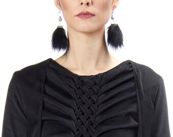 Celeste - Recycled fur earrings