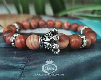 Author Bracelet Cleopatra Gemstone Bracelet Stone Bracelet Rhodonite Bracelet Yoga Bracelet Red Bracelet Elastic Bracelet Mens Womens Gifts