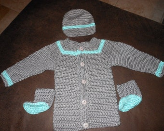 Gray & Robin Egg Blue 2 Pc Sweater Set