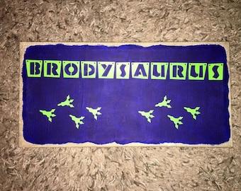 Personalized Name Dinosaur Canvas, dinosaur footprint, saurus, vinyl