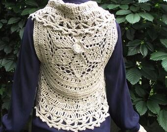 Mandala vest, Rustical mandala vest, Crocheted linen mandala vest