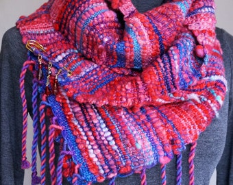 Handmade Woven Saori Scarf 100% Australian Merino Wool Hand Dyed