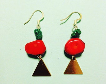 Turquoise & Coral handmade earrings .