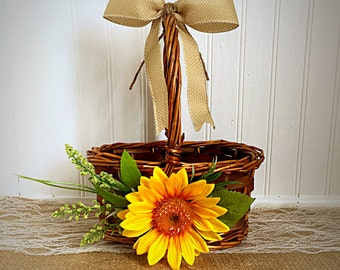 Rustic Sunflower Flower Girl Basket with Burlap ribbon and Twine, Rustic flower girl
