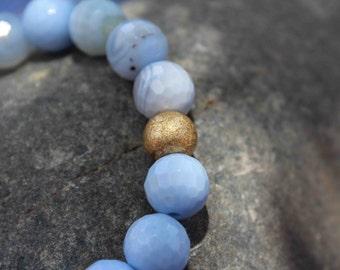 Light Blue Dyed Jade Stretch Bracelet