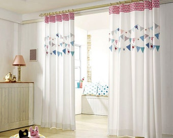 2 Panels Pink Garland Kids Blackout Curtains, 50% blocks Light, Nursery blackout curtains, Kids Curtains, Children Curtains, Kidsroom Deco