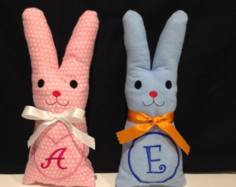 Personalised embroidered,initialed,handmade soft toy, stuffed rabbit bunny