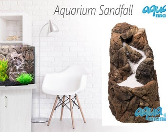 Aquarium Sand Waterfall - ready to install aquarium decoration for any fish tank - cool ornament easy to install