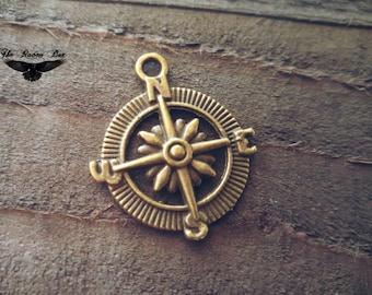 Compass Charm Compass Pendant Antiqued Bronze Compass Camping Charm Nautical Charm Ocean Charm Bronze Charm Wholesale Charm Individual Charm