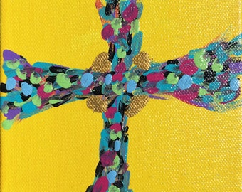 Yellow Morning Cross Painting by CL Treat