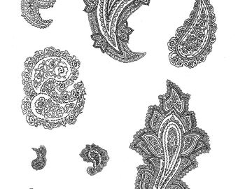 Paisley Party - 10 UN-Mounted Rubber Stamps