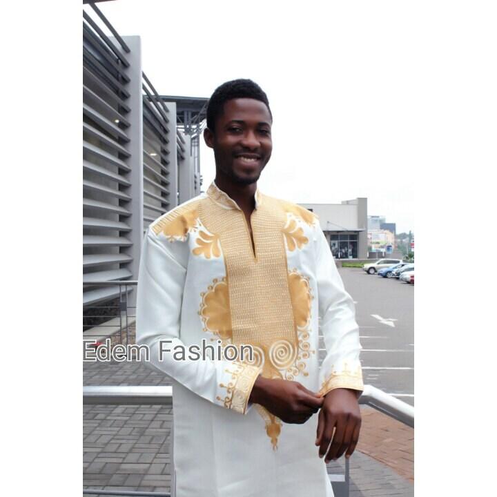 Ivory And Antique Embroidery African Clothingdashiki Shirt