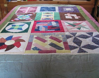 Lovely Multi-Square Hand Pieced Quilt