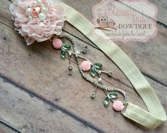 Baby Pink Vintage headband - girl vintage headband - newborn headband - baby shower gift - princess headband - baby headband - pink hair bow