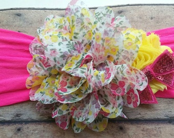 Nylon headband Bright pink with yellow floral