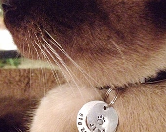 "1"" small hand stamped aluminum pet id tag for dog or cat"