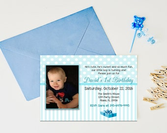 Boys first birthday party, Baby's 1st birthday invitation, party invites boy's 1st birthday, baby's party invitation, Printable party invite