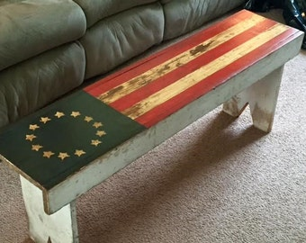 Rustic/Shabby Chic Flag Bench