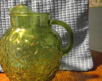 Vintage Anchor Hocking Milano Crinkled Glass Ball Pitcher