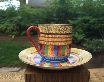 Vintage Chinese Demitasse, brilliant colors