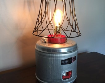 "Vintage Featherflite Aluminum Water Cooler Lamp 22"" tall"