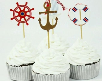 24 Nautical Cupcake Toppers Food Picks Birthday Party Baby Shower Favor