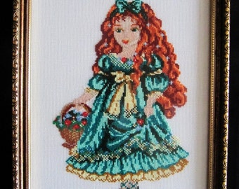 """Embroidery """"Doll in green dress"""""""